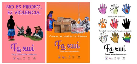 """Ejemplares de carteles para la Campaña """"Fa xwi: Te convido a cuidarnos""""."""