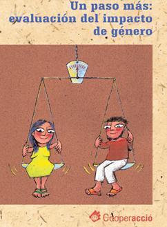 """Carátula de la guía """"Un paso más: evaluación del impacto de género"""" de Clara Murguialday y Norma Vásquez."""